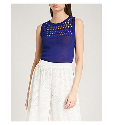 MISSONI Crotchet-knit sleeveless cotton top (Blue