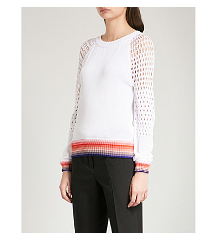 MISSONI Crotchet-sleeve cotton jumper (Multicolour