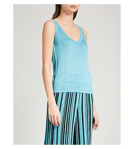 MISSONI Metallic-knit sleeveless woven top (Blue
