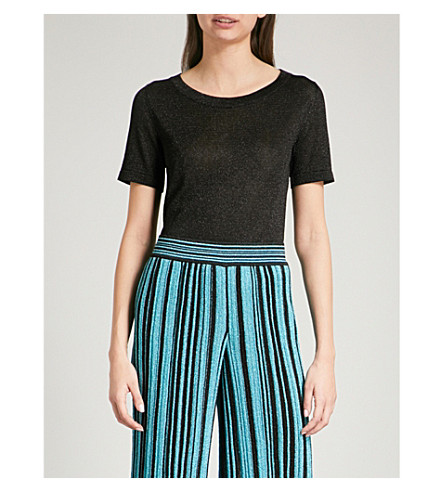 MISSONI Metallic-knit woven T-shirt (Black