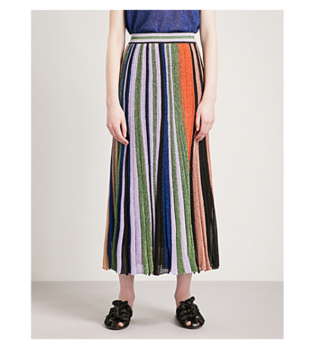MISSONI Metallic-striped knitted midi skirt (Yellow/brown