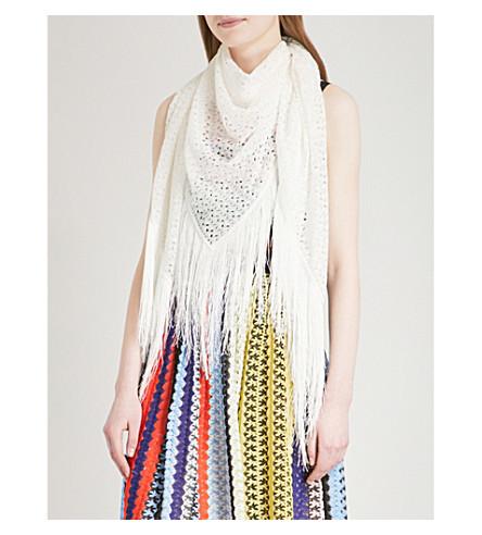 MISSONI Fringed crochet-knit pashmina (White