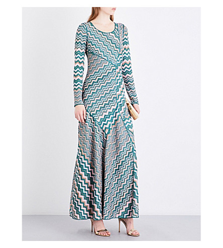 MISSONI Chevron metallic-knit maxi dress (Multicoloured