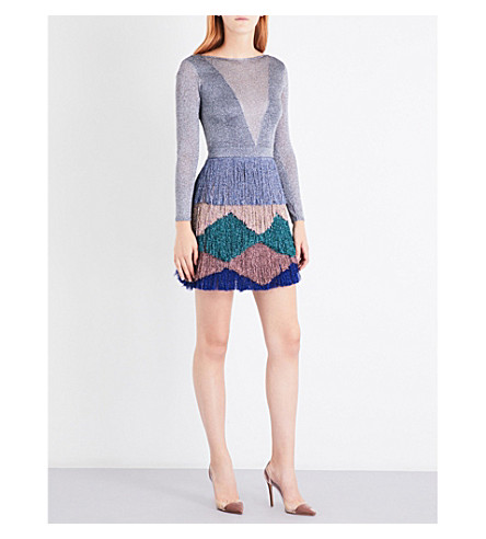 MISSONI Backless metallic-knit zigzag dress (Multicoloured