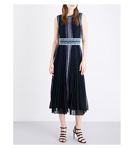 MISSONI Lateral-stripe sleeveless metallic-knit dress (Multicoloured