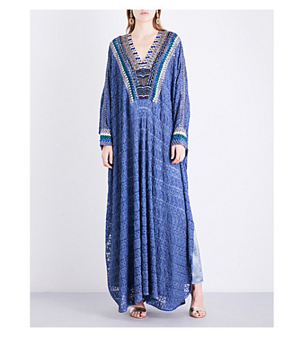 MISSONI Bead-embellished metallic-knit kaftan (Blue