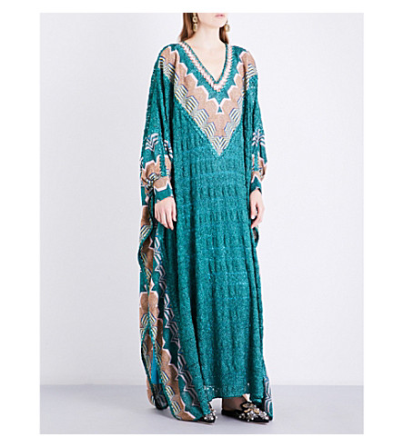MISSONI Geometric-print metallic-knit kaftan (Dark+green