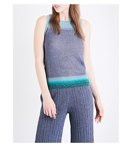 MISSONI Contrast-panel sleeveless metallic-knit top (Blue/+turquoise