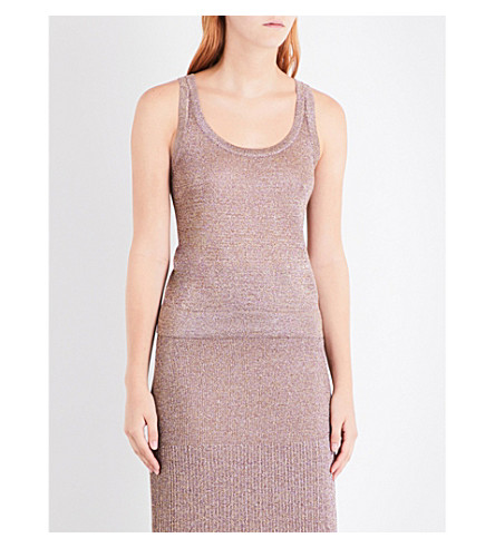 MISSONI Sleeveless metallic-knit top (Pink