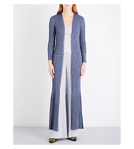 MISSONI Metallic-knit maxi cardigan (Blue/+turquoise