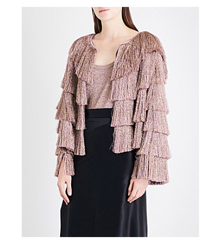 MISSONI Fringed metallic-knit jacket (Gold/red/fuchsia