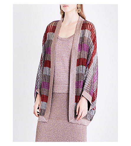 MISSONI Batwing-sleeve metallic-knit cardigan (Gold/red/fuchsia