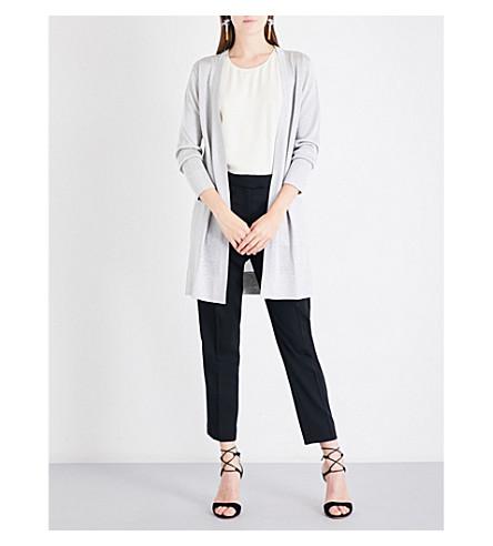 MISSONI Open-front metallic-knit maxi cardigan (Silver