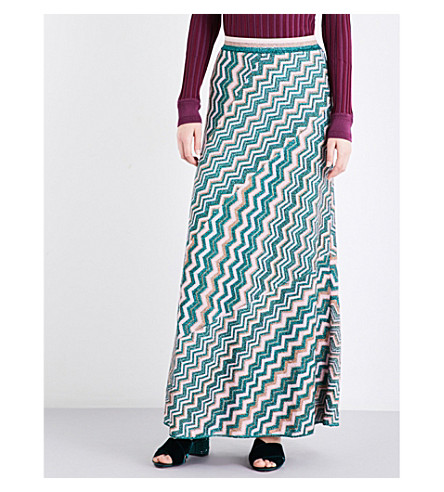 MISSONI Chevron-print high-rise metallic-knit skirt (Multicoloured