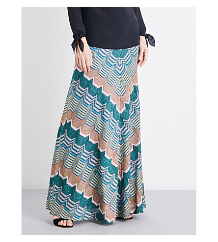 MISSONI Chevron metallic-knit maxi skirt (Multicoloured