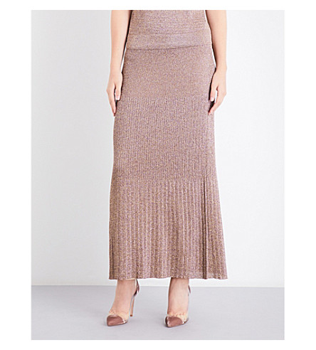 MISSONI Metallic-knit maxi skirt (Pink
