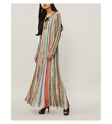 MISSONI Striped metallic-knit maxi kaftan (Light+multi