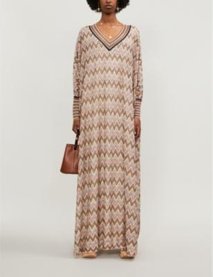Chevron-patterned metallic-knit kaftan dress