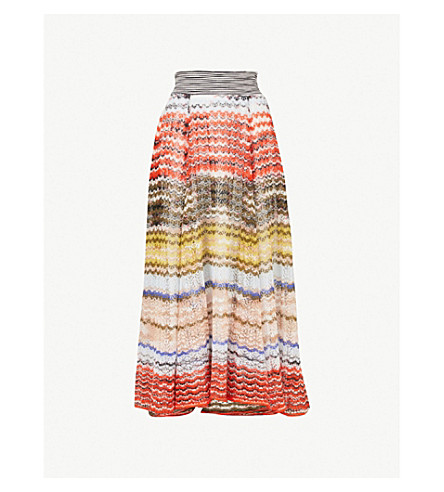 MISSONI Striped zigzag-knit midi skirt (Orange+multi