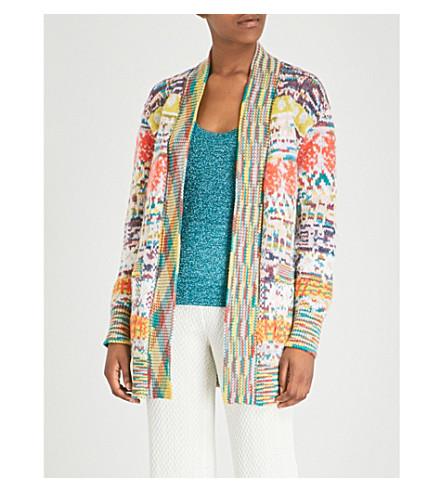 MISSONI Multi embroidered alpaca and cashmere-blend cardigan (Orange multi