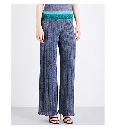MISSONI Lateral-stripe wide high-rise metallic-knit trousers (Blue/+turquoise