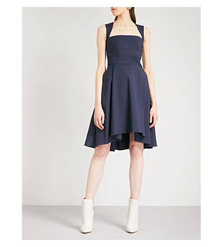 OSMAN Doris fit-and-flare cotton-blend dress (Navy