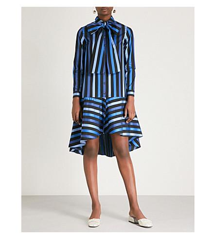 OSMAN阿米莉亚条纹棉迷笛礼服 (蓝色