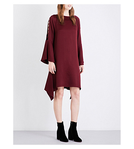 OSMAN Ladder-sleeve loose-fit seersucker dress (Plum