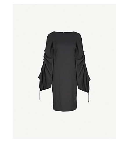 OSMAN Gathered crepe dress (Black