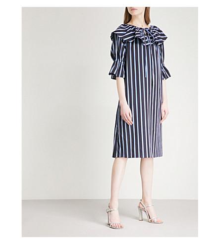 OSMAN Marita striped ruffled cotton dress (Navy+white