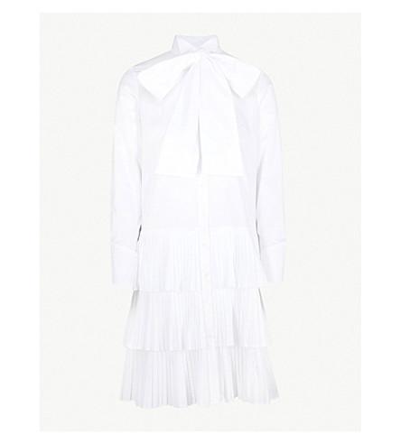 OSMAN Pleated cotton shirt dress (White