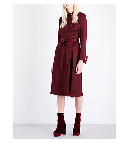 OSMAN Melinda asymmetric crepe dress (Plum