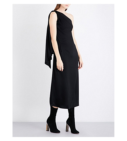 OSMAN Asymmetric satin midi dress (Black