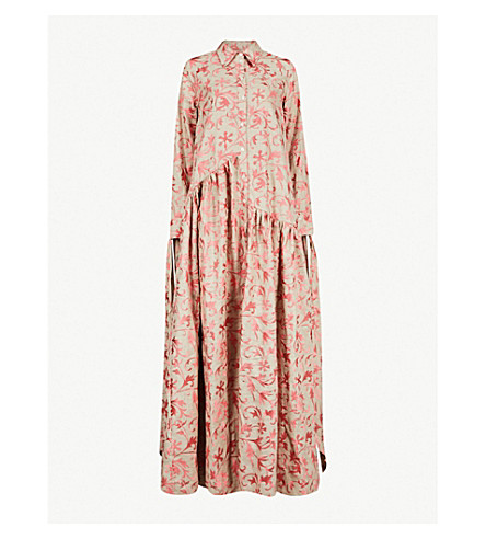 OSMAN Evaline embroidered linen maxi dress (Natural/pink