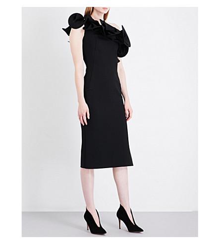OSMAN Diynah ruffled midi dress (Black