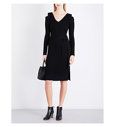 OSMAN Cold-shoulder cutout wool dress (Black