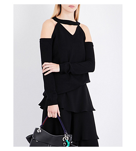 OSMAN Cold-shoulder cutout knitted jumper (Black