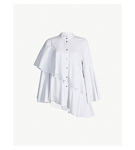 OSMAN Sunny layered striped cotton shirt (White black