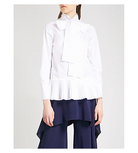 OSMAN Effy pleated-hem cotton-twill shirt (White