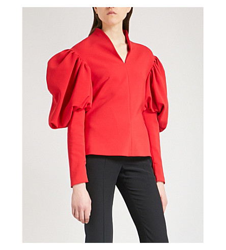 OSMAN Karcy princess-sleeve crepe top (Red