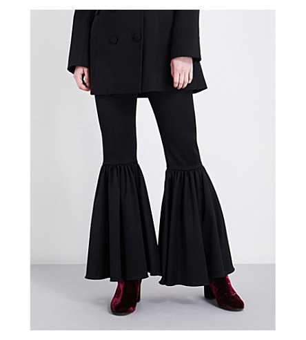 OSMAN Ariel kick-flare wool-blend trousers (Black