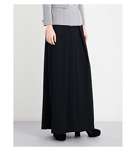 OSMAN Wide-leg pleated high-rise wool-crepe trousers (Black