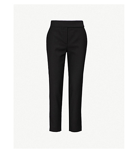 OSMAN 高腰修身版型羊毛裤子 (黑色