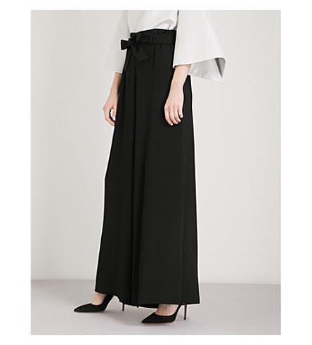 OSMAN Paloma paperbag wide-leg crepe trousers (Black