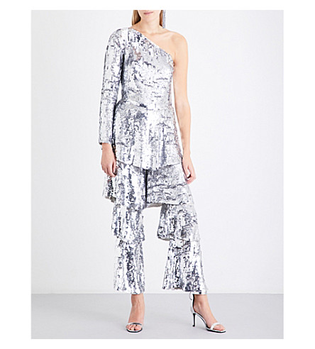 OSMAN One-shoulder sequinned jumpsuit (Silver