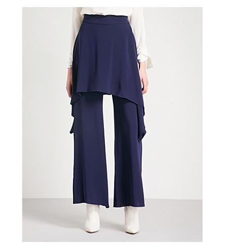 OSMAN Gulia flared-overlay wide-leg georgette trousers (Navy