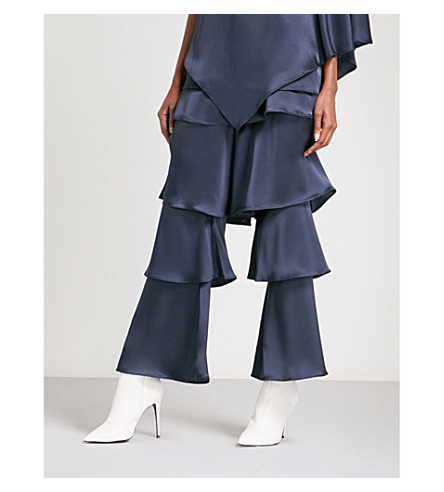 OSMAN Felix tiered wide high-rise satin trousers (Navy