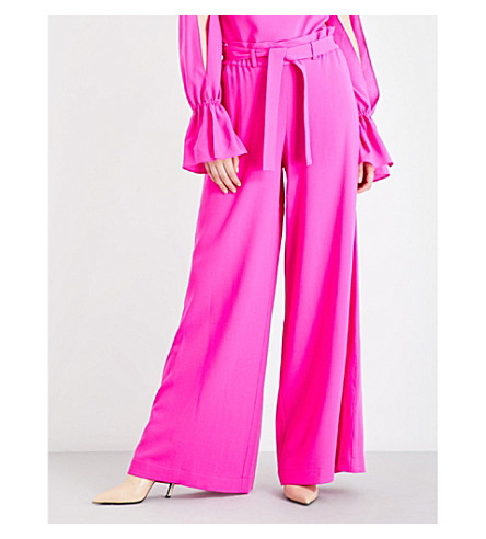 OSMAN Paloma high-rise wool-crepe trousers (Fushia