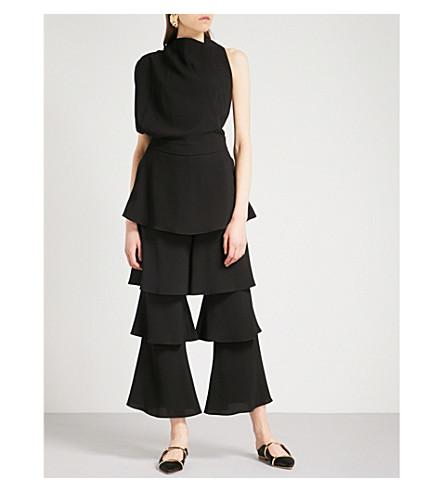 OSMAN Larissa tiered crepe jumpsuit (Black