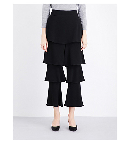 OSMAN Felix flounce satin trousers (Black